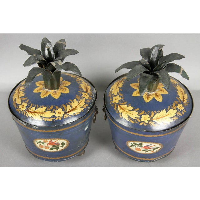 Blue Pair of Swedish Tole Peinte Covered Barrels For Sale - Image 8 of 12