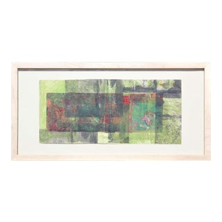 """Late 20th Century """"Untitled R43 0387"""" Abstract Green, Red, and Grey Toned Mixed-Media Painting by Rita Blasser, Framed For Sale"""