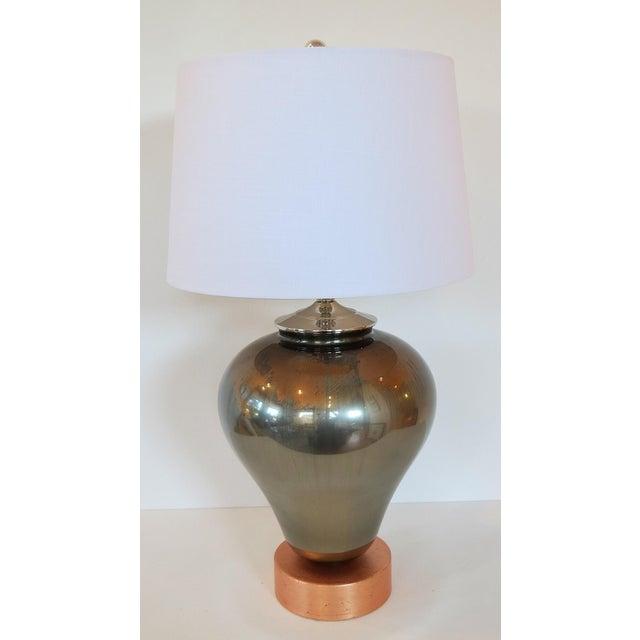 Vintage Mercury & Copper Leaf Glass Lamp - Image 5 of 9