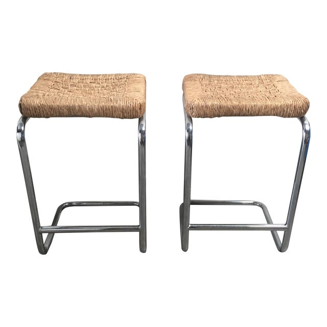 Vintage 1970's Chrome Stools - A Pair - Image 1 of 7