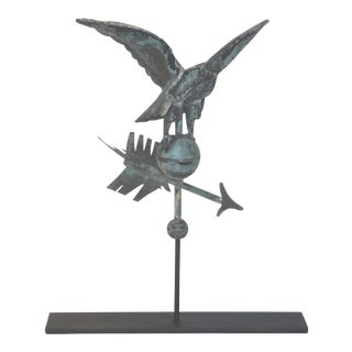 Fantastic Diminutive 19th Century Eagle Full Body Weathervane on Stand For Sale