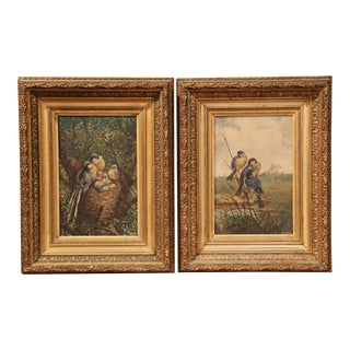 Pair of 19th Century French Birds Oil Paintings in Gilt Frames Signed Delor