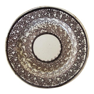 19th Century Antique Portuguese Spongeware Wall Plate For Sale
