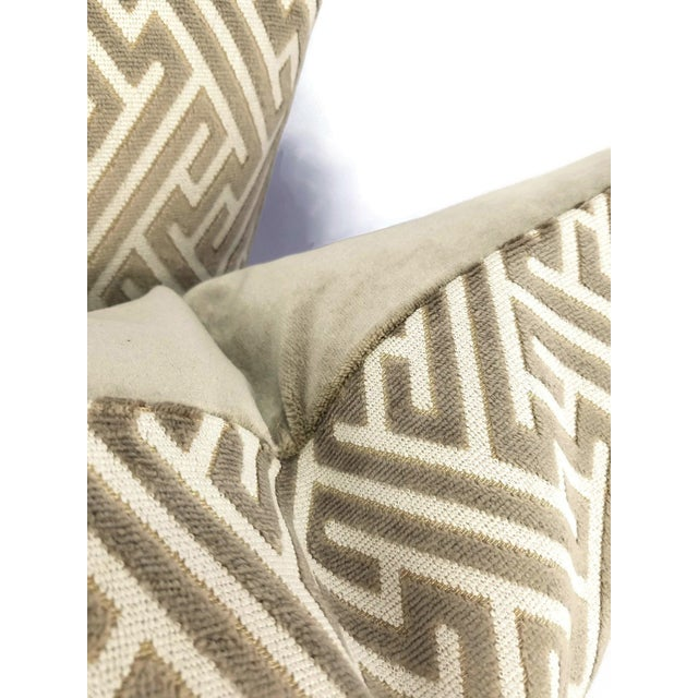 "Holly Hunt Holly Hunt in Labyrinth Field Stone - Gray and White Geometric Fretwork Velvet Pillow Cover 20"" X 20"" For Sale - Image 4 of 6"
