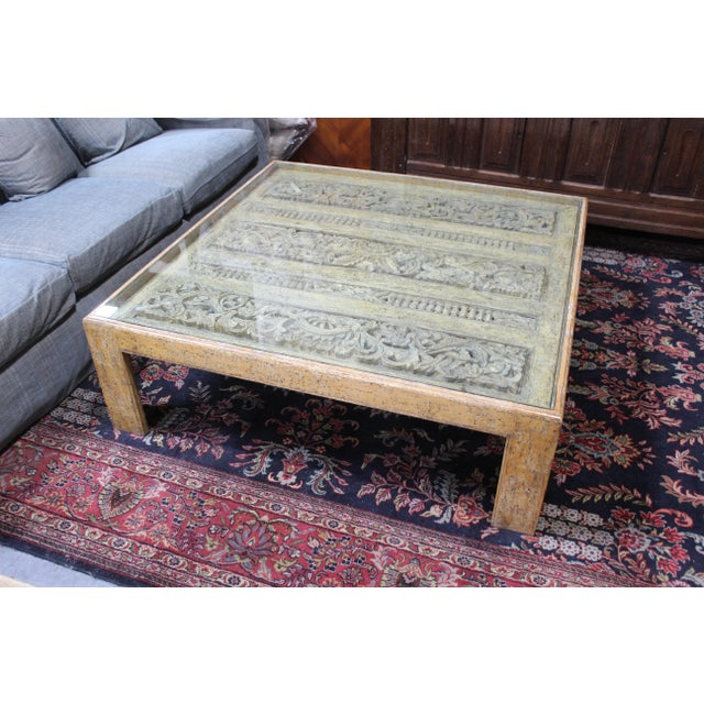 Custom designed ethnographical table, possibly an antique Indian fragment then made into a custom coffee table for a Los...