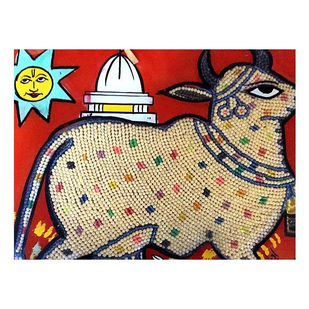 Beaded Indian Églomisé Cow Painting - Image 3 of 7