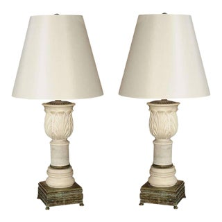 1950s Neoclassical Carved Marble Table Lamps - a Pair For Sale