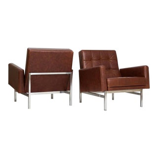 Pair of 1955 Mid-Century Modern Early Florence Knoll Lounge Chairs in Leather