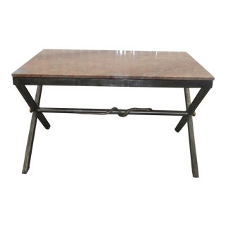 Neoclassical Marble Top Iron Table With Brass Snake For Sale
