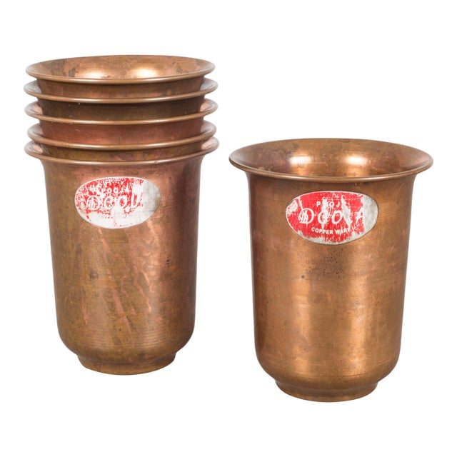 Set of Copper Ware Picnic Cups C.1950 - Set of 6 For Sale