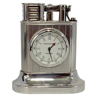 Dunhill Silver Plated Longitude Lighter and Clock For Sale