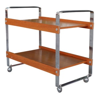 Chrome and Teak Bar Cart