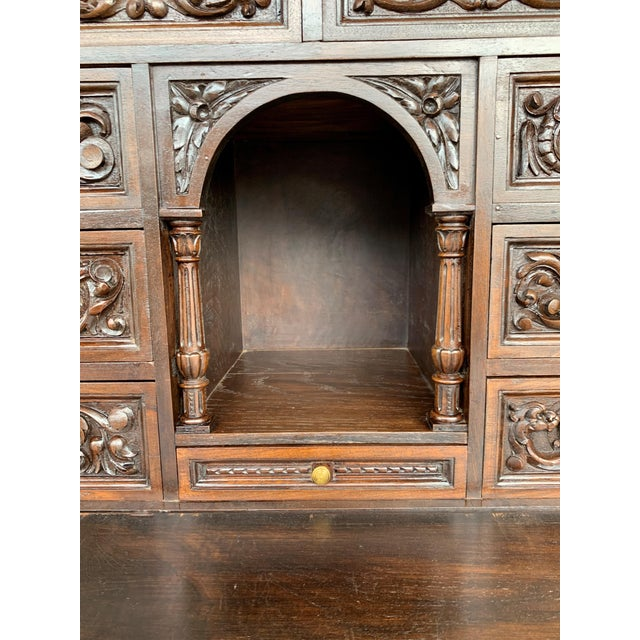 Metal 18th Spanish Bargueno of Columns With Foot Bridge, Cabinet on Stand For Sale - Image 7 of 13