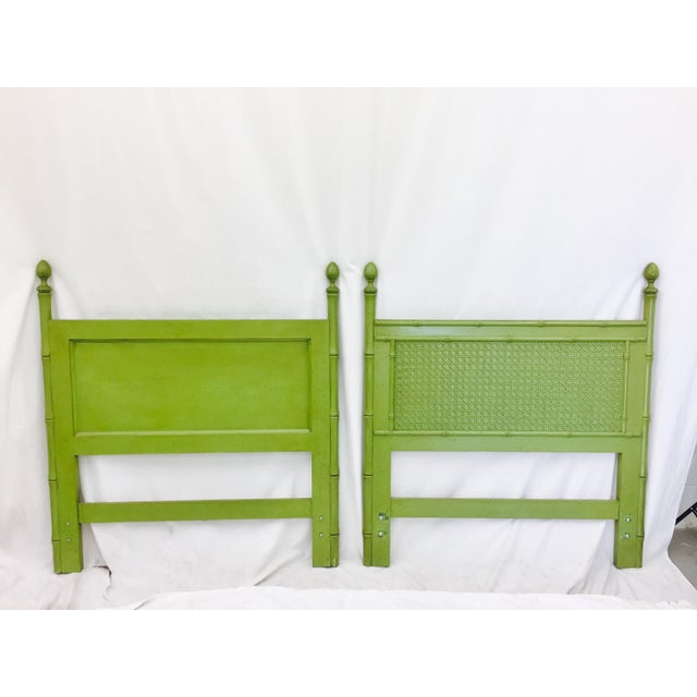 Vintage Green Faux Bamboo Twin Beds - a Pair - Image 7 of 9