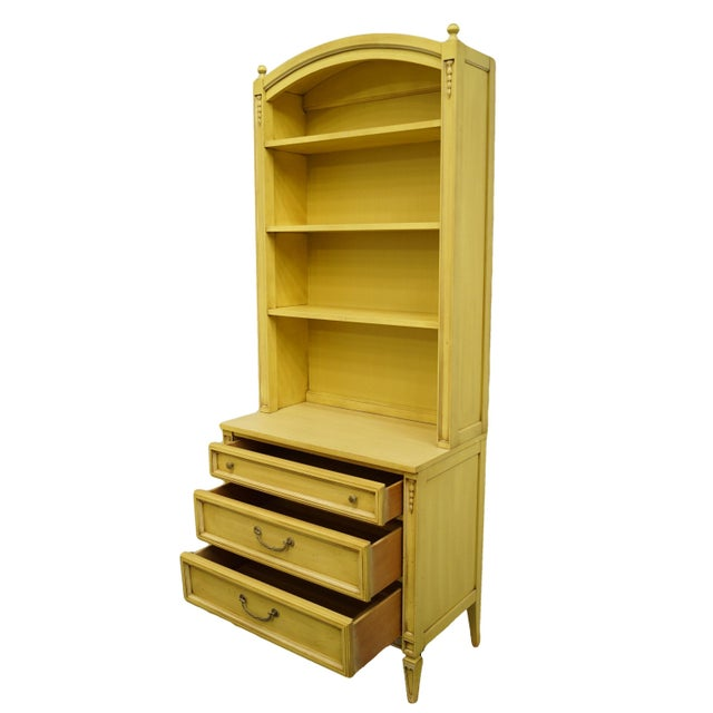 Late 20th Century 20th Century French Provincial Basic-Witz Cream / Yellow Painted 3-Drawer Chest With Bookcase For Sale - Image 5 of 12