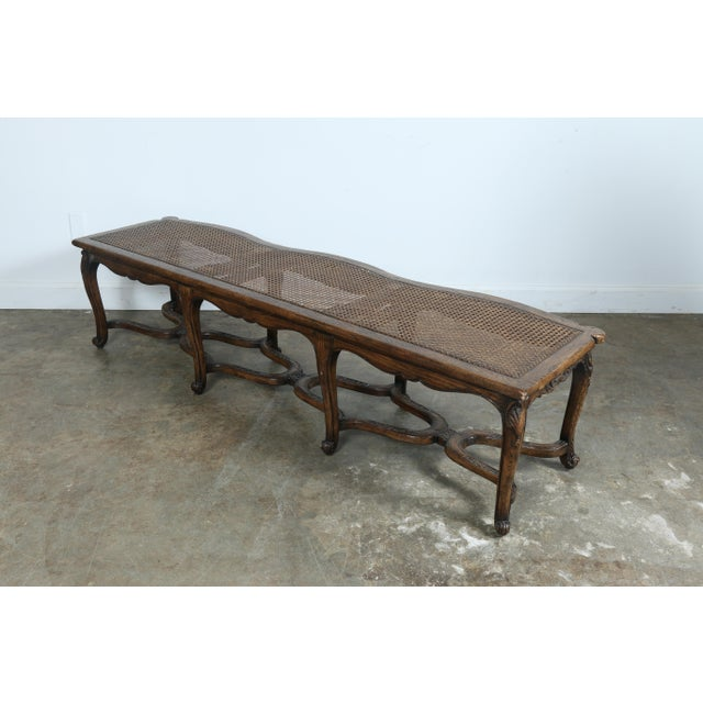 Italian Style Carved Wood Cane Seat Bench - Image 8 of 10