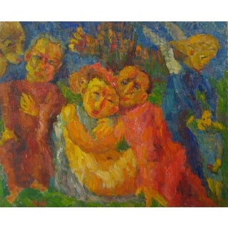 """Jennings Tofel """"Evil"""" Expressionist Figures Oil Painting, 1955 For Sale"""