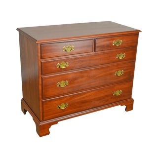Henkel Harris Chippendale Style Solid Cherry Single Dresser Chest of Drawers For Sale