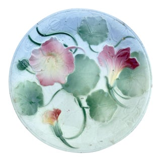 Early 20th Century Antique French Majolica Flowers Plate For Sale