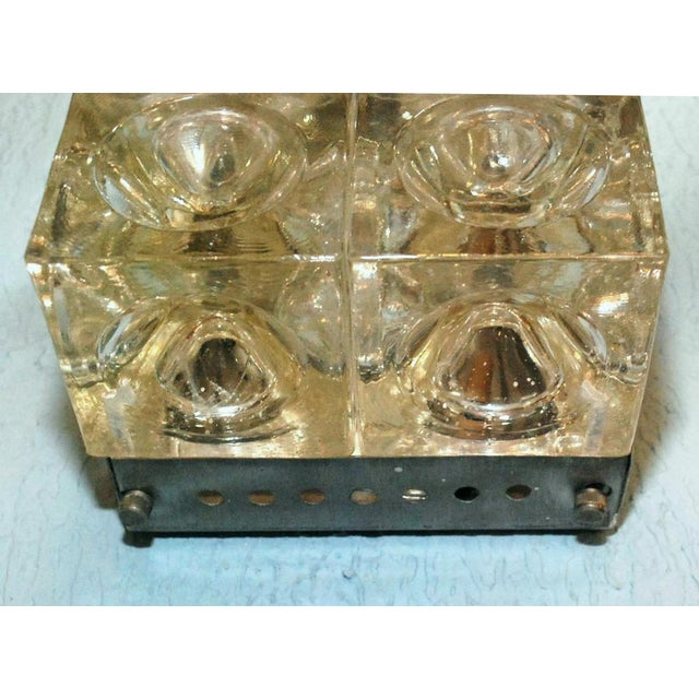 Poliarte Italian Murano Glass Cube Sconces / Flush Mounts by Poliarte - a Pair For Sale - Image 4 of 11
