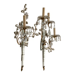 French Two-Light Bronze and Crystal Sconces - a Pair For Sale