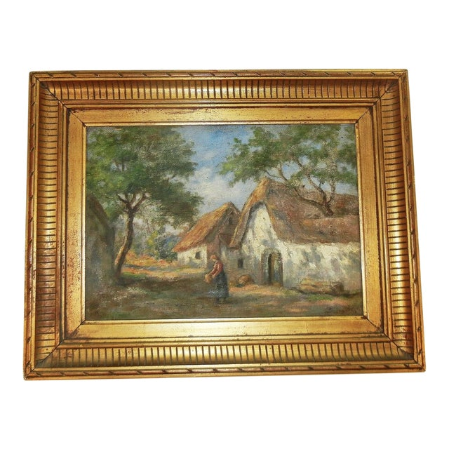 Early 20th Century Antique Argentinian Rural Scene Oil on Canvas Painting For Sale