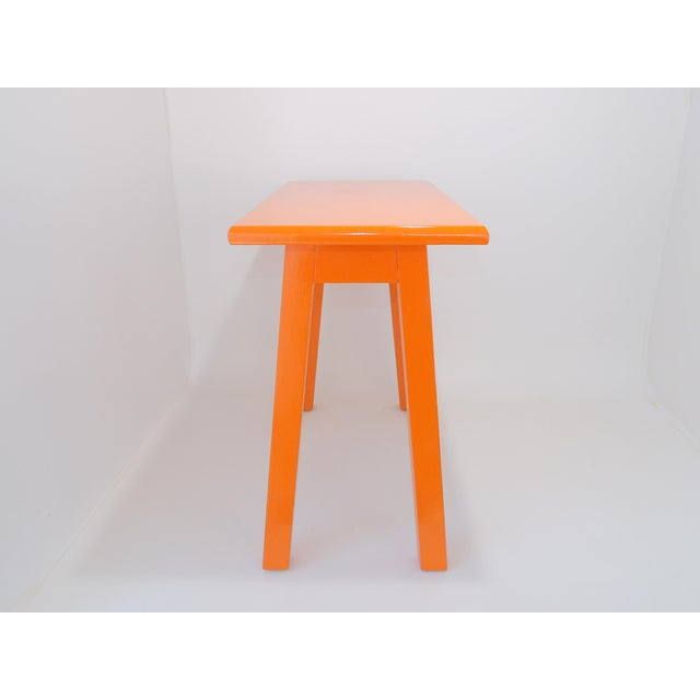 Contemporary Vintage Mid-Century Orange Wood Side Table For Sale - Image 3 of 9