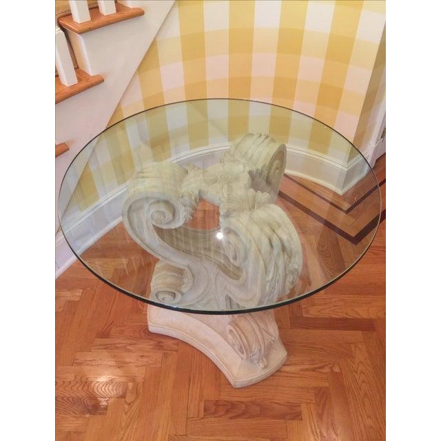 Acanthus Leaf Pedestal Table Base, 2 Glass Tops - Image 4 of 4