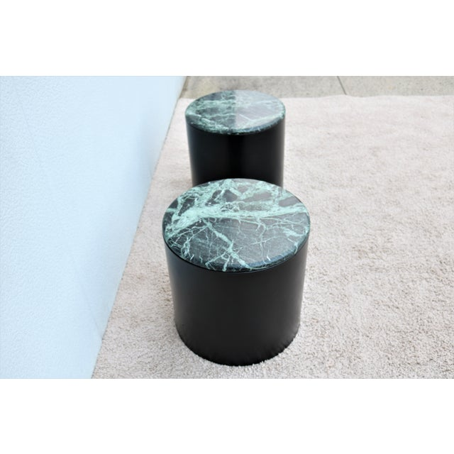 Mid Century Modern Paul Mayen Style Green Marble Top Drum Side Tables - a Pair For Sale In New York - Image 6 of 13