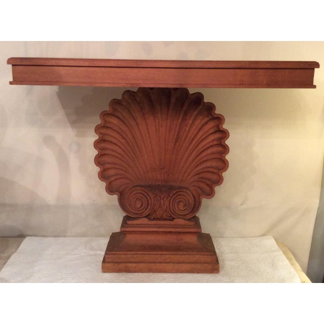 Nautical Edward Wormley Style Shell Hall Table in Raw Mahogany For Sale - Image 10 of 10