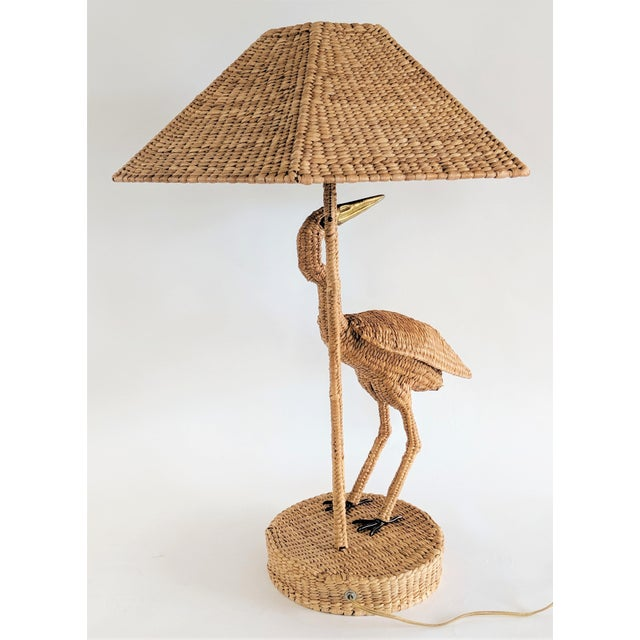 Mario Lopez Torres 1974 Monumental Egret Wicker Table Lamp For Sale In Miami - Image 6 of 13