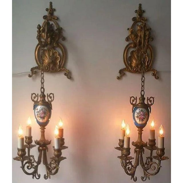 This older pair of Pendant style Lights or Sconces is absolutely fabulous. Made of mixed metals and beautiful Sevres style...