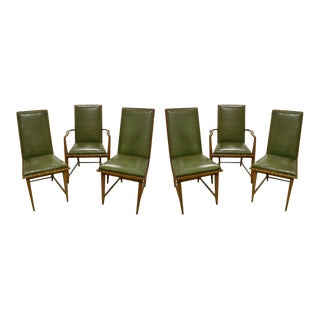 Set of 6 Leather and Oak Dining Chairs by Harold Schwartz for Romweber For Sale