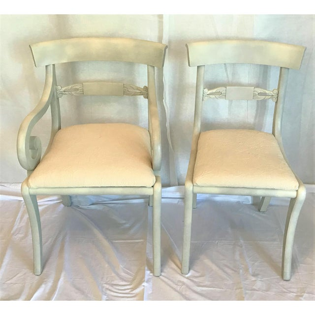1940s 1940s Gustavian Ivory Klismos Dining Chairs - Set of 6 For Sale - Image 5 of 10
