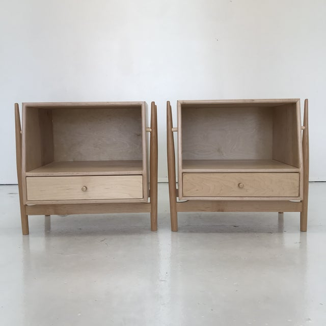 Minimalism Handmade Sculptural Nighstands in Maple For Sale - Image 3 of 13