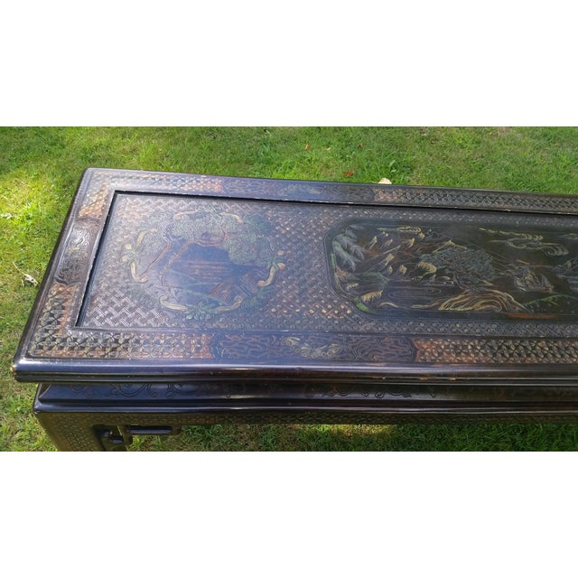 Asian John Widdicomb Asian Carved Console Table For Sale - Image 3 of 10