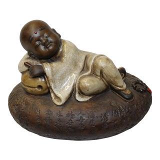 Chinese Oriental Ceramic Cartoon Style Kid Lohon Monk Figure For Sale