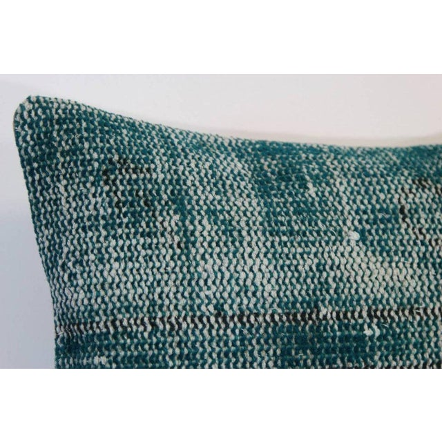 Turquoise Lumbar Over-Dyed Rug Pillows - Pair - Image 4 of 4