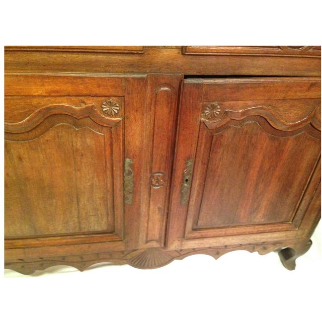 Beautiful 19th century French provencal Louis XV walnut buffet with scalloped molded top over two drawers and two doors....