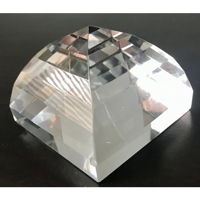 Tiffany & Co Crystal Pyramid Paperweight For Sale - Image 9 of 9