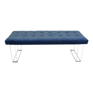60 Inches Infinity Style Blue Velvet & Lucite Bench For Sale