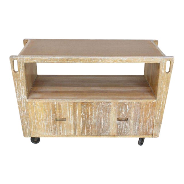 1970s Arts & Crafts Adze Cut Ceruised Oak Finish Serving Cart Bar on Wheels For Sale - Image 12 of 12