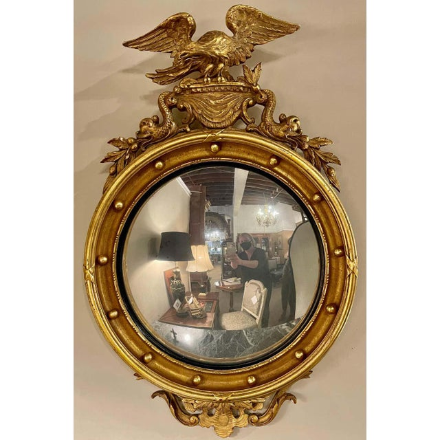 Federal Style Convex Eagle Carved Mirror, Wall, Console Mirror For Sale - Image 11 of 13