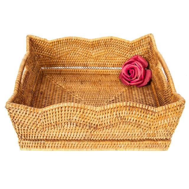 Artifacts Rattan Scallop Collection Rectangular Basket For Sale - Image 4 of 6