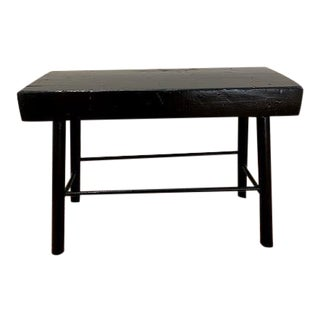 Glossy Black Primitive Stool For Sale