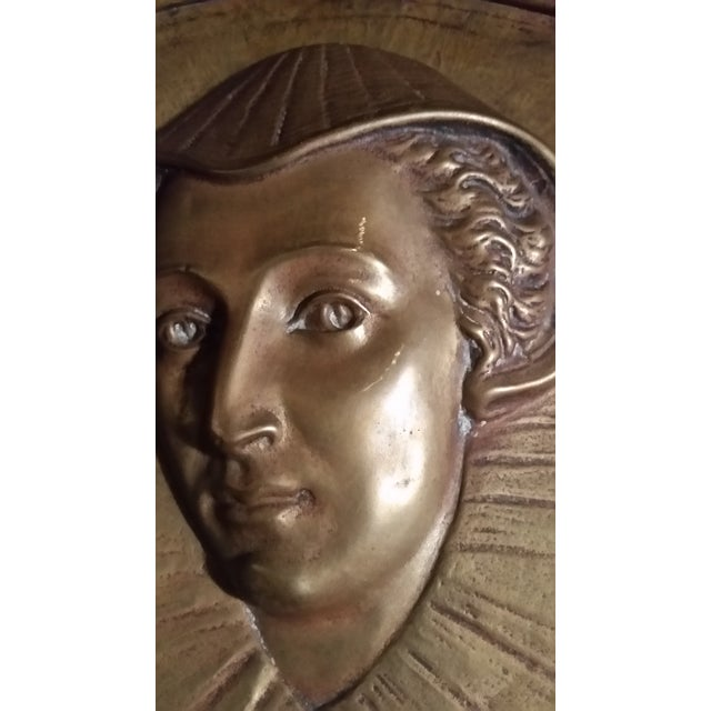 Mid 20th Century Vintage Mary Queen of Scots Bronze Decorative Hanging Plate For Sale - Image 5 of 8