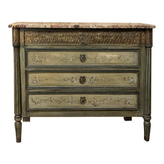 19th Century Italian Marble Top Painted Commode For Sale