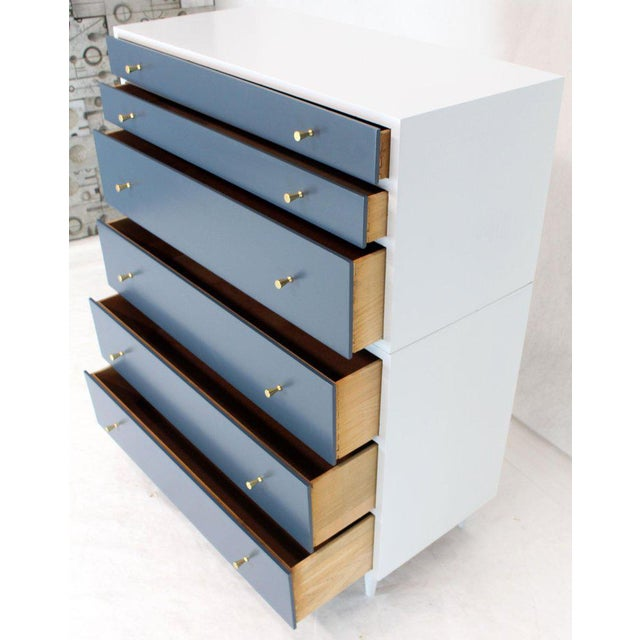 White and Blue High Chest on Chest Two Pieces McCobb Dresser Cabinet Six Drawers For Sale - Image 6 of 12