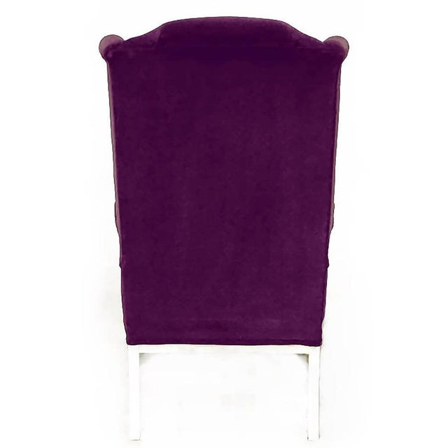 1960s Erwin-Lambeth Plum Velvet Neo-Chippendale Wing Chair For Sale - Image 5 of 10