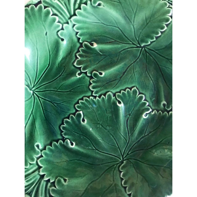 Copeland Pair of Green Majolica Cabbage Leaf Plates by Copeland For Sale - Image 4 of 10